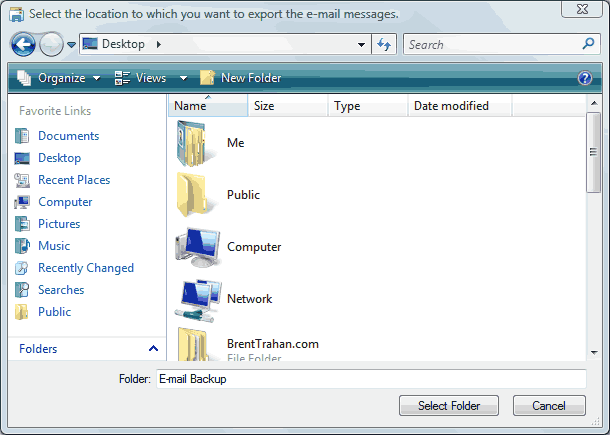How to backup e-mail form Microsoft Mail on Vista - Step 4 of 6
