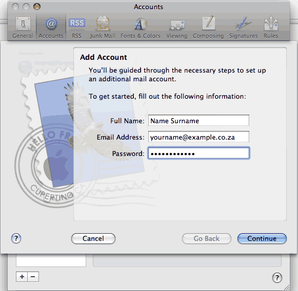 Set up an e-mail account on Mac Mail - Step 3 of 6