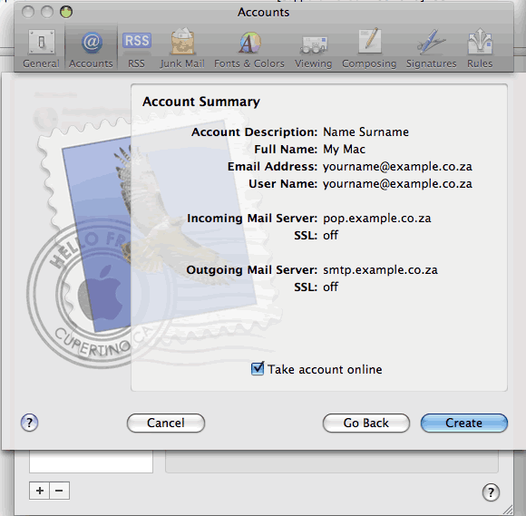 Set up an e-mail account on Mac Mail - Step 6 of 6