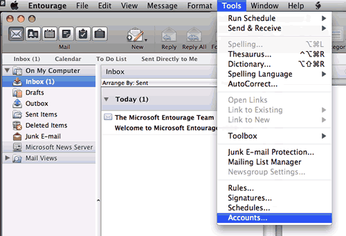 Set up an e-mail account on Entourage Mac - Step 1 of 6