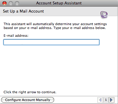 Set up an e-mail account on Entourage Mac - Step 3 of 6