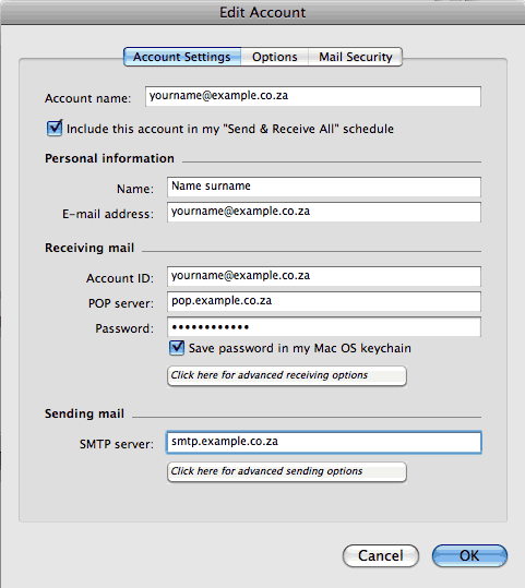 Set up an e-mail account on Entourage Mac - Step 5 of 6