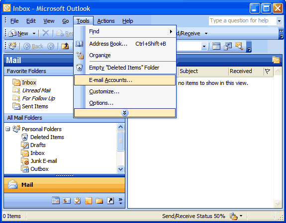 Set up an e-mail account on Microsoft Outlook 2002/3 - Step 1 of 7