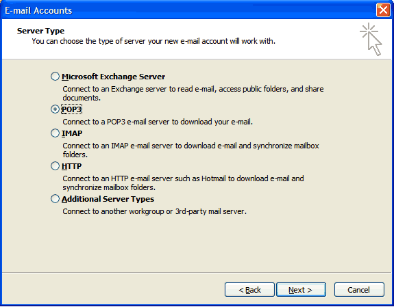 Set up an e-mail account on Microsoft Outlook 2002/3 - Step 3 of 7
