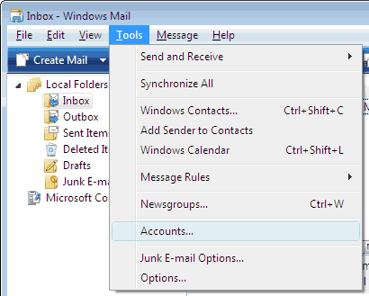 Set up an e-mail account on Windows Mail - Step 1 of 10
