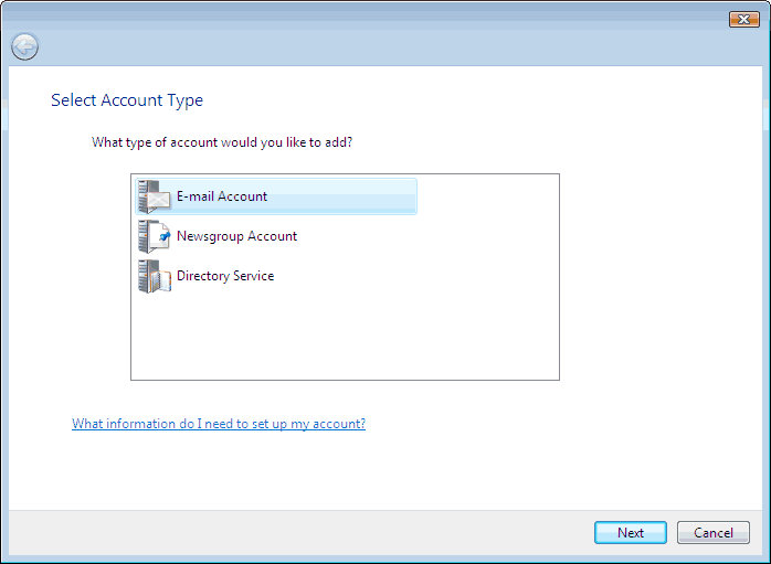 Set up an e-mail account on Windows Mail - Step 3 of 10