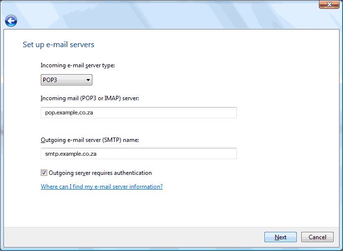 Set up an e-mail account on Windows Mail - Step 6 of 10