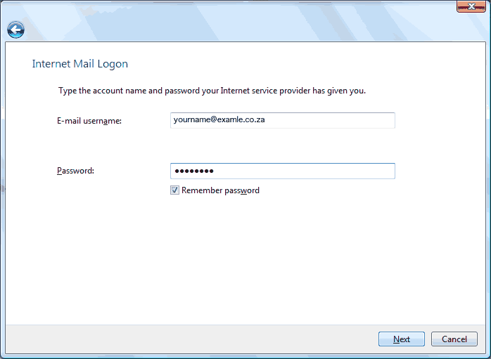 Set up an e-mail account on Windows Mail - Step 7 of 10